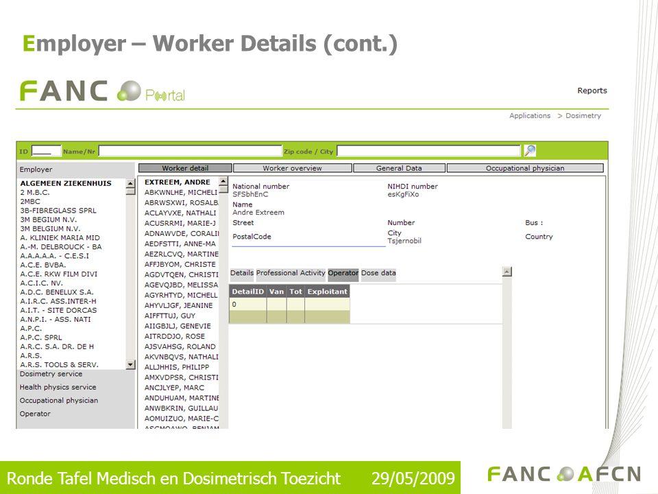 Ronde Tafel Medisch en Dosimetrisch Toezicht 29/05/2009 Reporting for One Worker