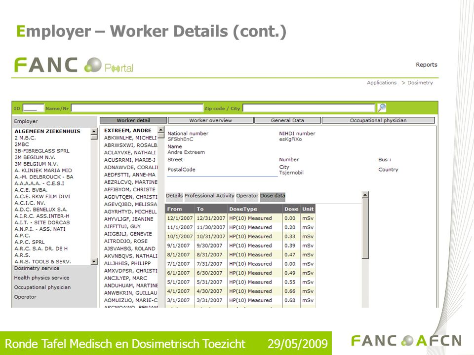 Ronde Tafel Medisch en Dosimetrisch Toezicht 29/05/2009 Employer – Worker Overview