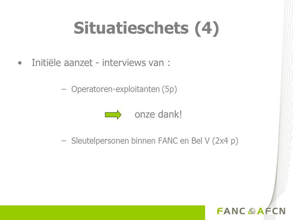 Situatieschets (4) Initiële aanzet - interviews van : – Operatoren-exploitanten (5p) onze dank.