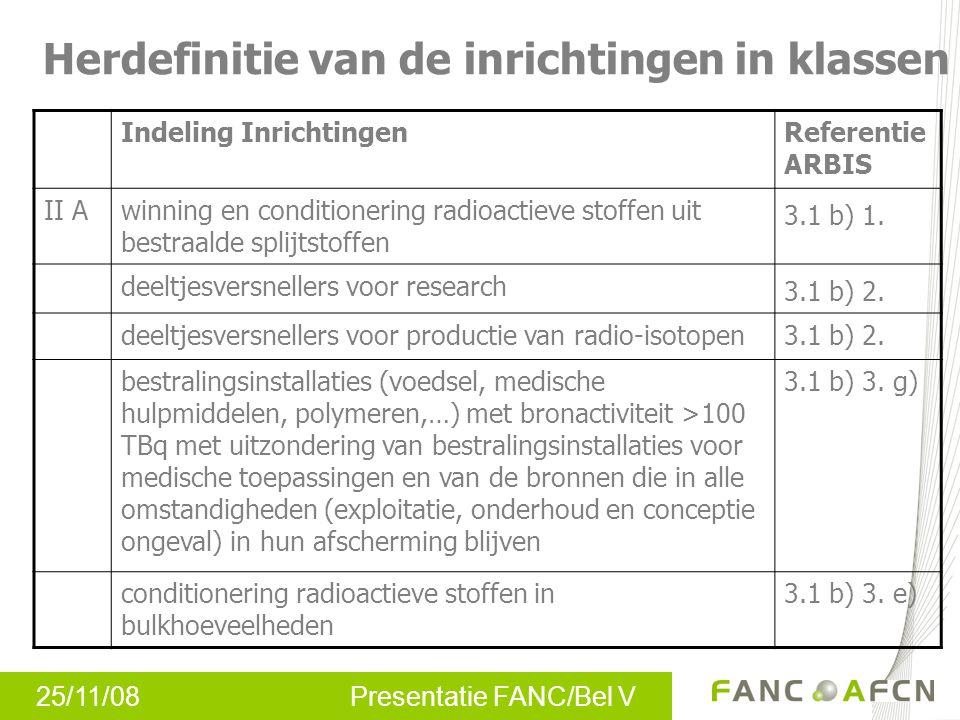 25/11/08 Presentatie FANC/Bel V Herdefinitie van de inrichtingen in klassen Indeling InrichtingenReferentie ARBIS II Awinning en conditionering radioa