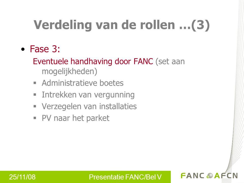 25/11/08 Presentatie FANC/Bel V Verdeling van de rollen …(3) Fase 3: Eventuele handhaving door FANC (set aan mogelijkheden)  Administratieve boetes 