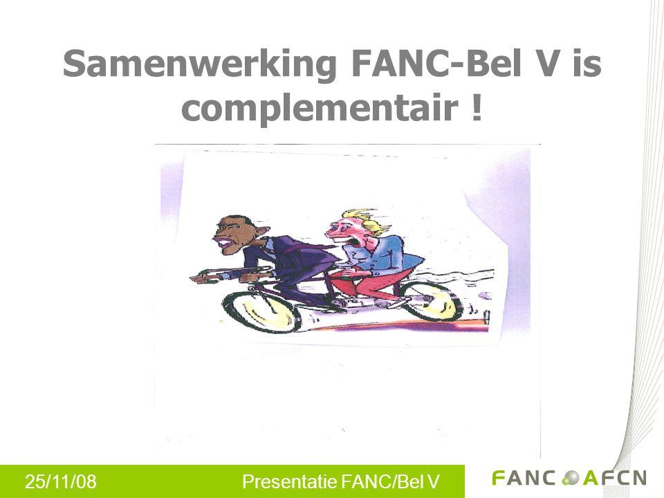 25/11/08 Presentatie FANC/Bel V Samenwerking FANC-Bel V is complementair !