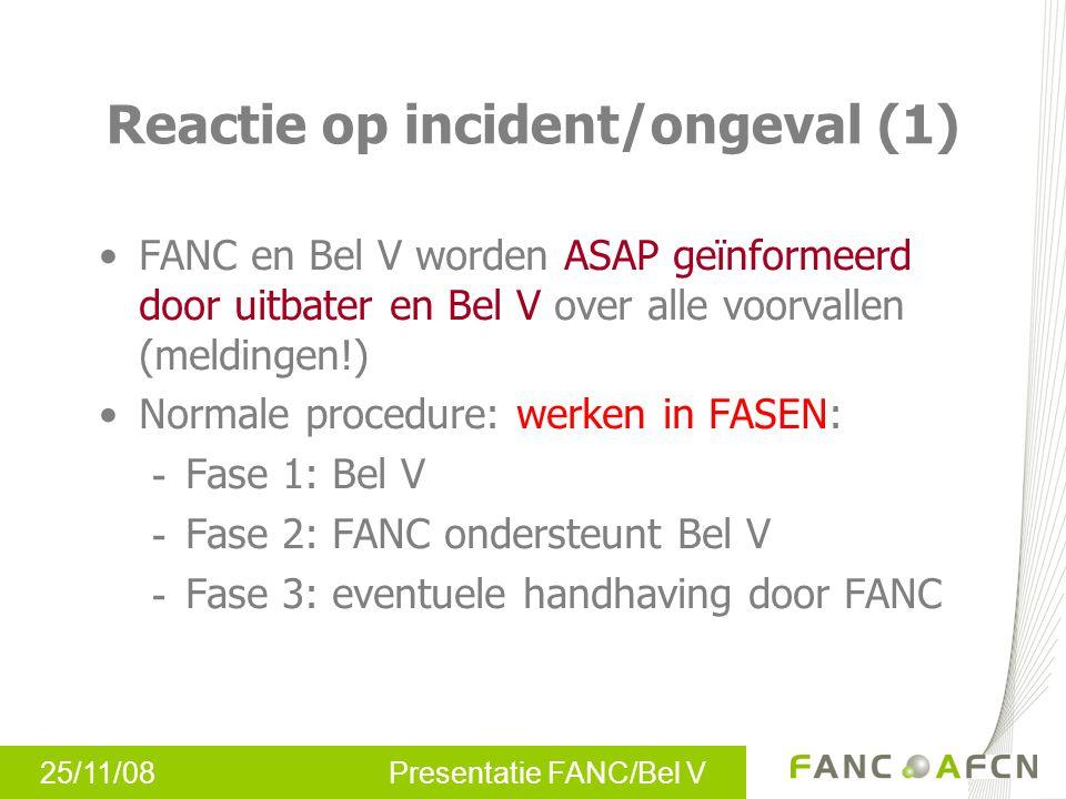 25/11/08 Presentatie FANC/Bel V Reactie op incident/ongeval (1) FANC en Bel V worden ASAP geïnformeerd door uitbater en Bel V over alle voorvallen (me