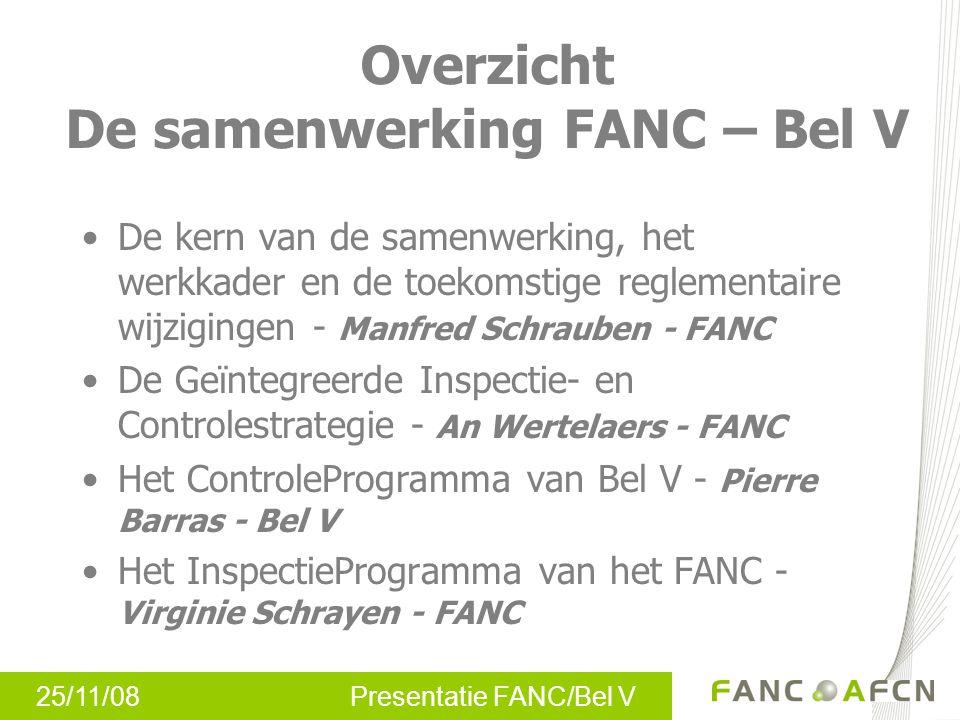25/11/08 Presentatie FANC/Bel V Overzicht De samenwerking FANC – Bel V De kern van de samenwerking, het werkkader en de toekomstige reglementaire wijz