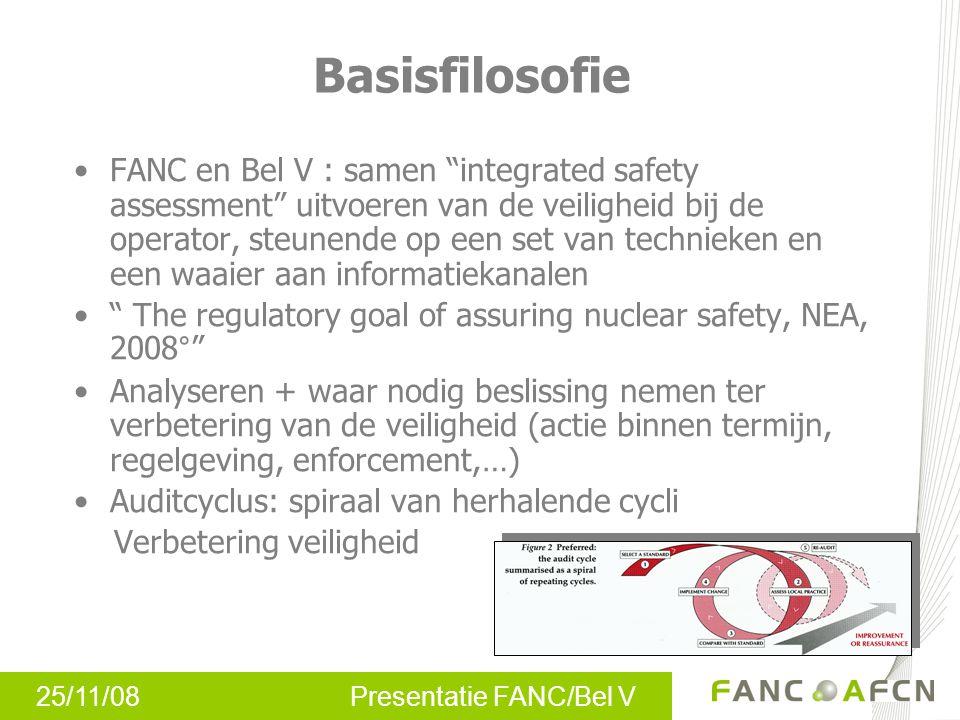 """25/11/08 Presentatie FANC/Bel V Basisfilosofie FANC en Bel V : samen """"integrated safety assessment"""" uitvoeren van de veiligheid bij de operator, steun"""