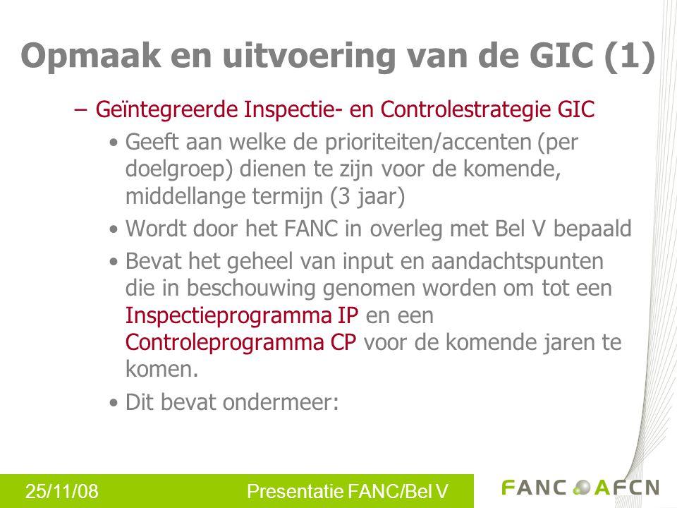 25/11/08 Presentatie FANC/Bel V –Geïntegreerde Inspectie- en Controlestrategie GIC Geeft aan welke de prioriteiten/accenten (per doelgroep) dienen te