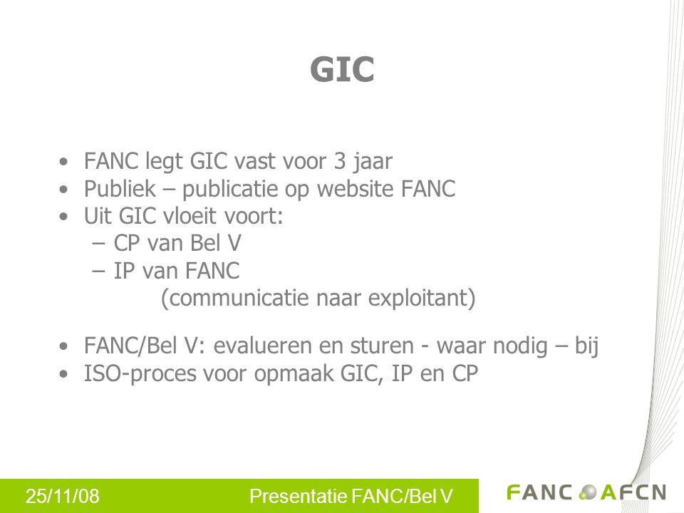 25/11/08 Presentatie FANC/Bel V GIC FANC legt GIC vast voor 3 jaar Publiek – publicatie op website FANC Uit GIC vloeit voort: –CP van Bel V –IP van FA