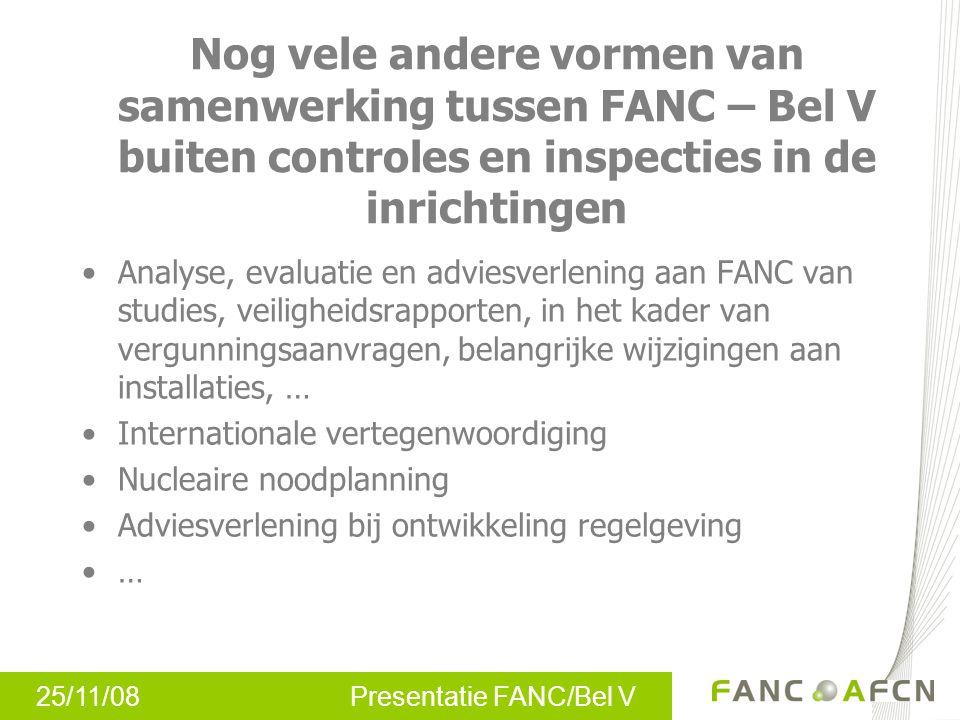 25/11/08 Presentatie FANC/Bel V Nog vele andere vormen van samenwerking tussen FANC – Bel V buiten controles en inspecties in de inrichtingen Analyse,