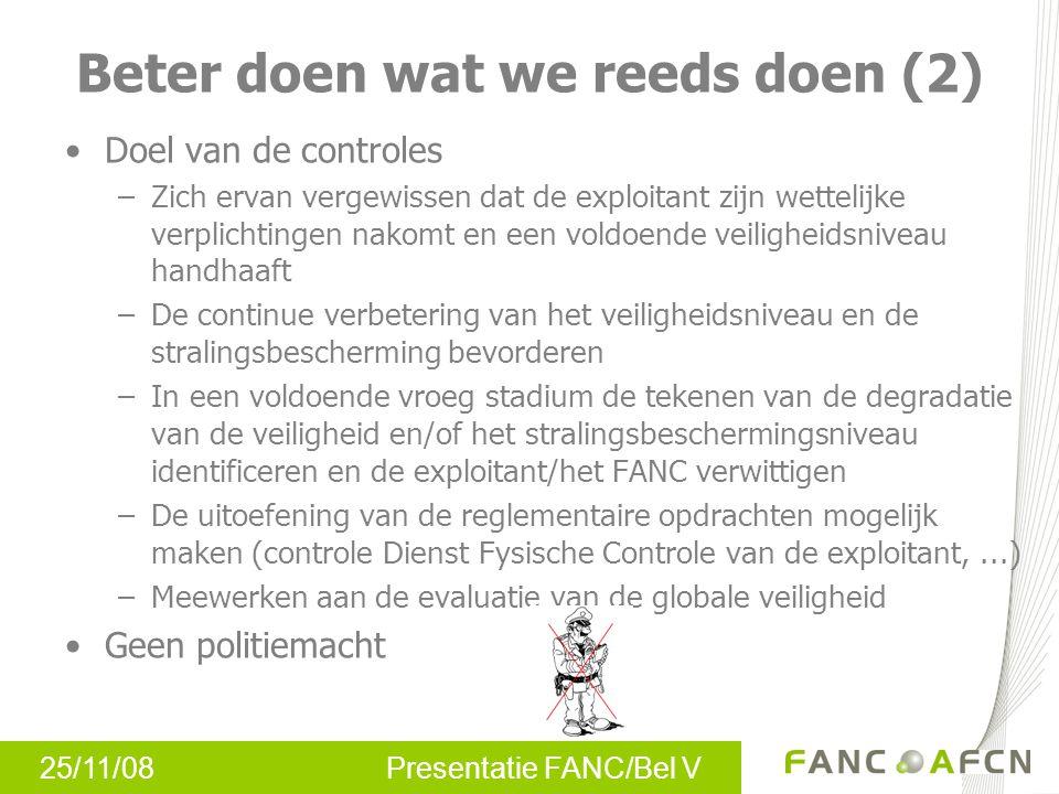 25/11/08 Presentatie FANC/Bel V Doel van de controles –Zich ervan vergewissen dat de exploitant zijn wettelijke verplichtingen nakomt en een voldoende
