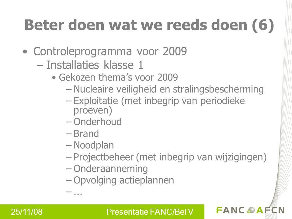 25/11/08 Presentatie FANC/Bel V Controleprogramma voor 2009 –Installaties klasse 1 Gekozen thema's voor 2009 –Nucleaire veiligheid en stralingsbescher