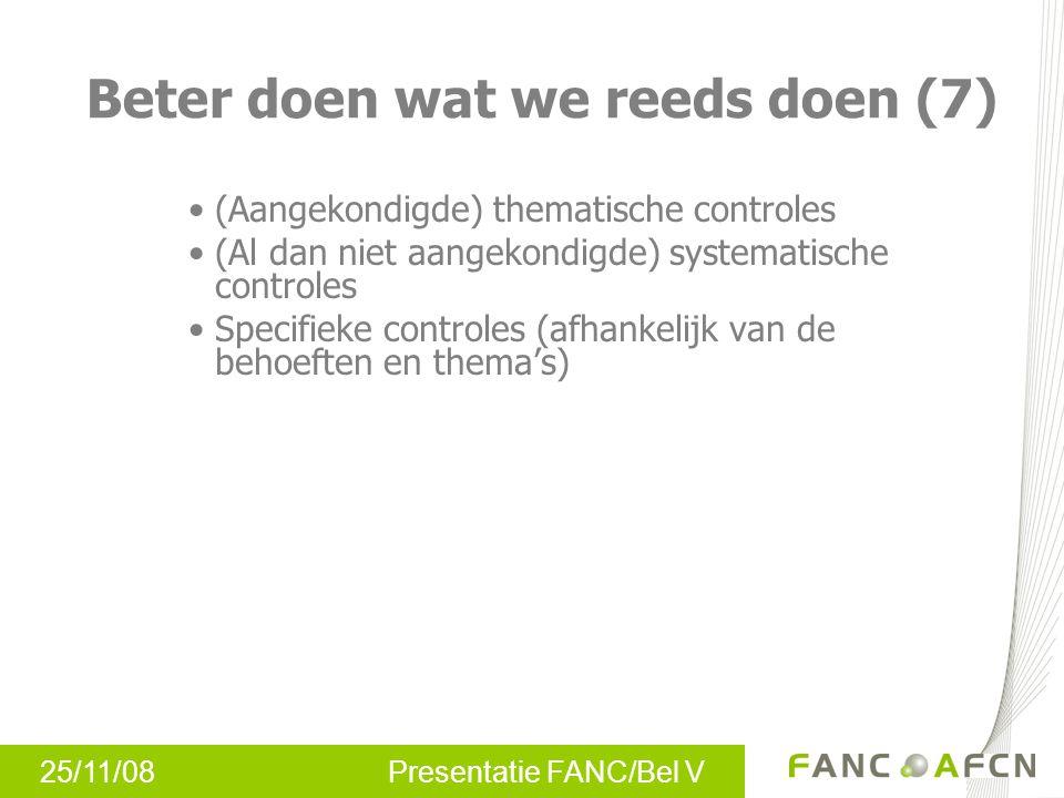 25/11/08 Presentatie FANC/Bel V (Aangekondigde) thematische controles (Al dan niet aangekondigde) systematische controles Specifieke controles (afhank