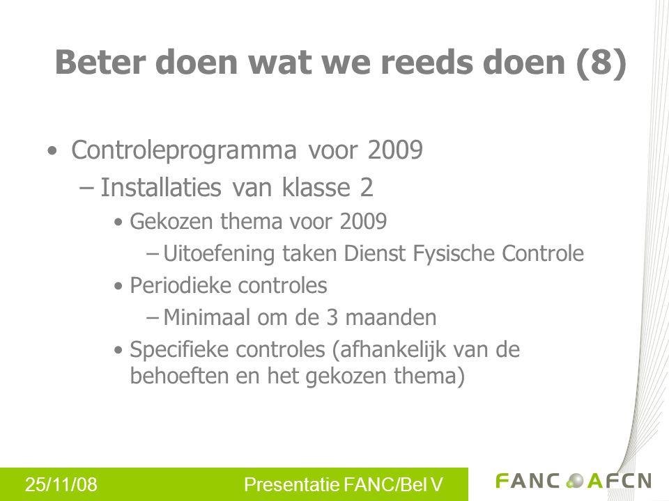 25/11/08 Presentatie FANC/Bel V Controleprogramma voor 2009 –Installaties van klasse 2 Gekozen thema voor 2009 –Uitoefening taken Dienst Fysische Cont
