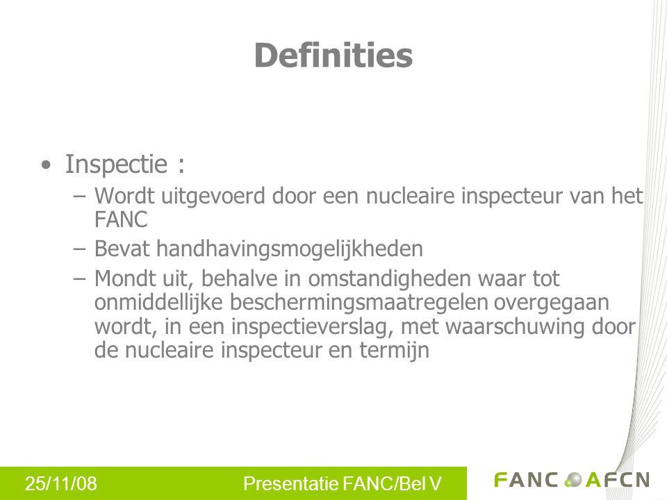 25/11/08 Presentatie FANC/Bel V Inspectie : –Wordt uitgevoerd door een nucleaire inspecteur van het FANC –Bevat handhavingsmogelijkheden –Mondt uit, b