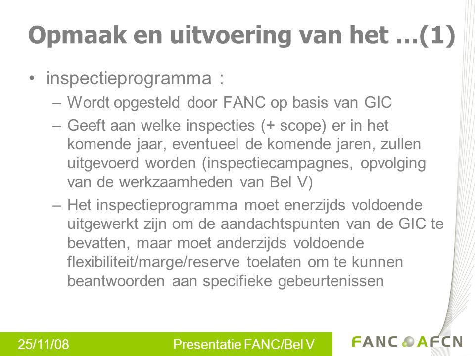 25/11/08 Presentatie FANC/Bel V inspectieprogramma : –Wordt opgesteld door FANC op basis van GIC –Geeft aan welke inspecties (+ scope) er in het komen