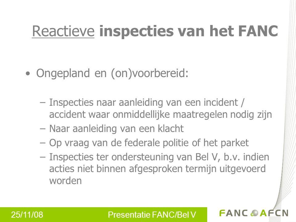 25/11/08 Presentatie FANC/Bel V Ongepland en (on)voorbereid: –Inspecties naar aanleiding van een incident / accident waar onmiddellijke maatregelen no