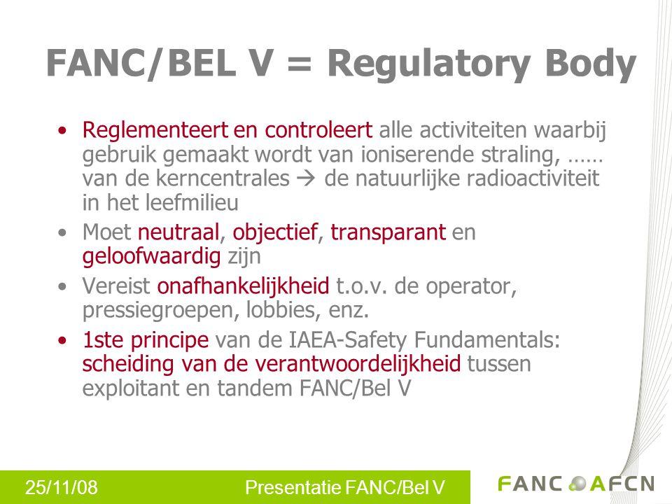 25/11/08 Presentatie FANC/Bel V FANC/BEL V = Regulatory Body Reglementeert en controleert alle activiteiten waarbij gebruik gemaakt wordt van ionisere