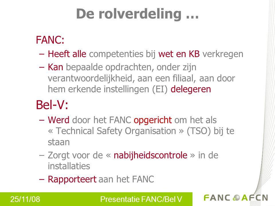 25/11/08 Presentatie FANC/Bel V De rolverdeling … FANC: –Heeft alle competenties bij wet en KB verkregen –Kan bepaalde opdrachten, onder zijn verantwo