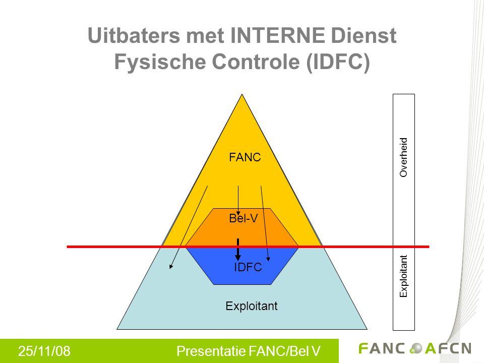 25/11/08 Presentatie FANC/Bel V Uitbaters met INTERNE Dienst Fysische Controle (IDFC) FANC Bel-V Overheid Exploitant IDFC Exploitant