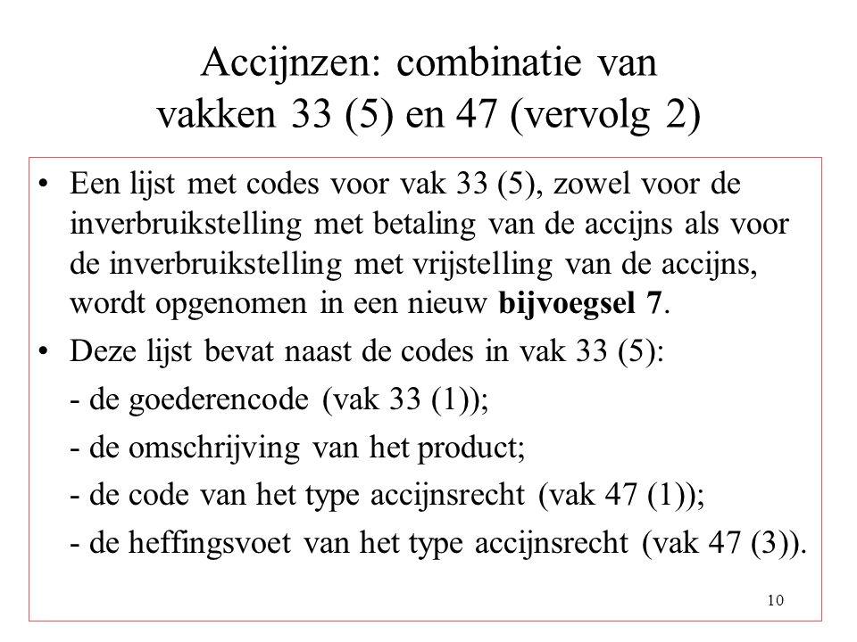 10 Accijnzen: combinatie van vakken 33 (5) en 47 (vervolg 2) Een lijst met codes voor vak 33 (5), zowel voor de inverbruikstelling met betaling van de accijns als voor de inverbruikstelling met vrijstelling van de accijns, wordt opgenomen in een nieuw bijvoegsel 7.