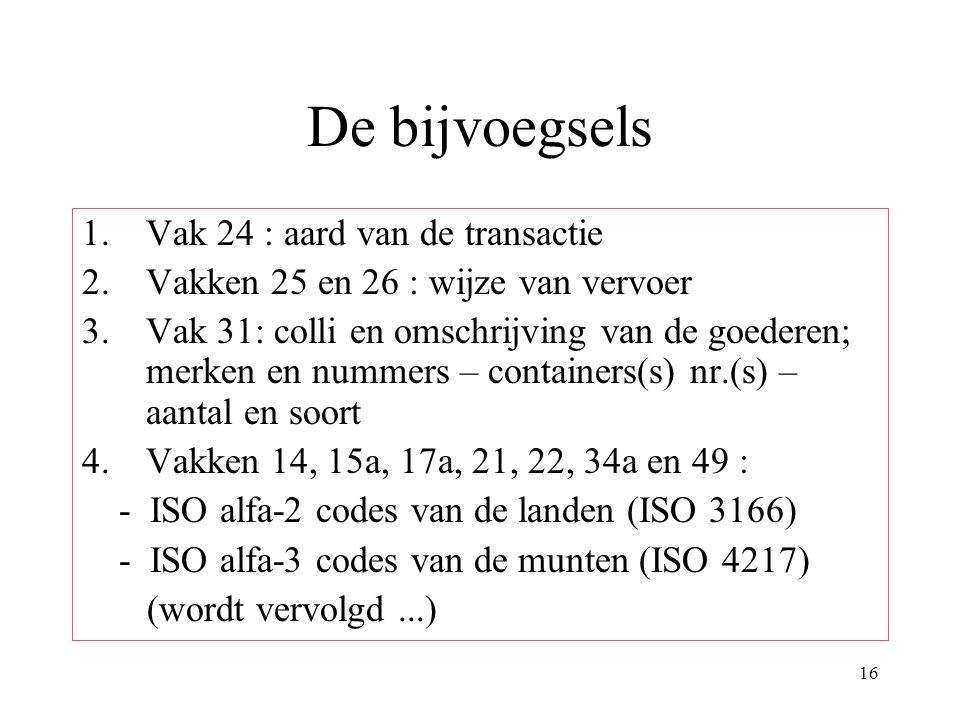 16 De bijvoegsels 1.Vak 24 : aard van de transactie 2.Vakken 25 en 26 : wijze van vervoer 3.Vak 31: colli en omschrijving van de goederen; merken en nummers – containers(s) nr.(s) – aantal en soort 4.Vakken 14, 15a, 17a, 21, 22, 34a en 49 : - ISO alfa-2 codes van de landen (ISO 3166) - ISO alfa-3 codes van de munten (ISO 4217) (wordt vervolgd...)