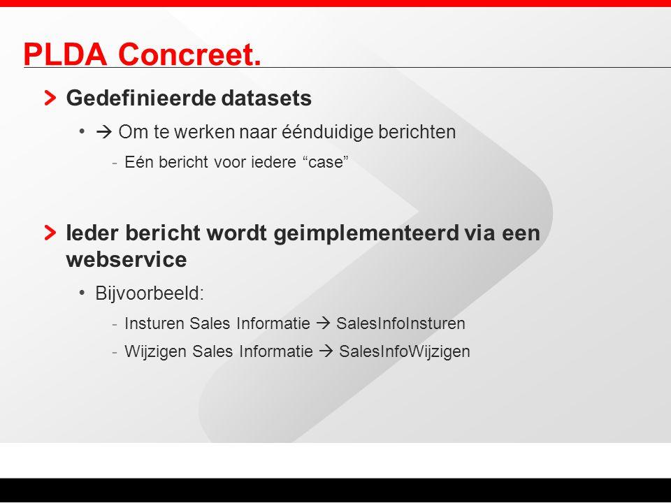 """PLDA Concreet. Gedefinieerde datasets  Om te werken naar éénduidige berichten -Eén bericht voor iedere """"case"""" Ieder bericht wordt geimplementeerd via"""