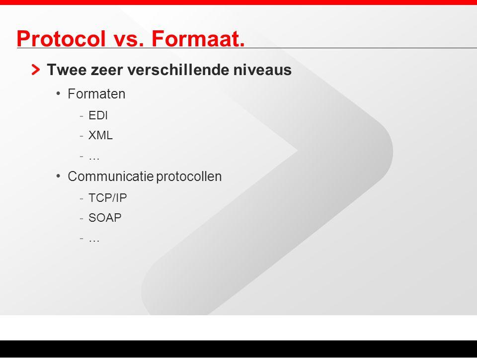 Protocol vs. Formaat. Twee zeer verschillende niveaus Formaten -EDI -XML -… Communicatie protocollen -TCP/IP -SOAP -…
