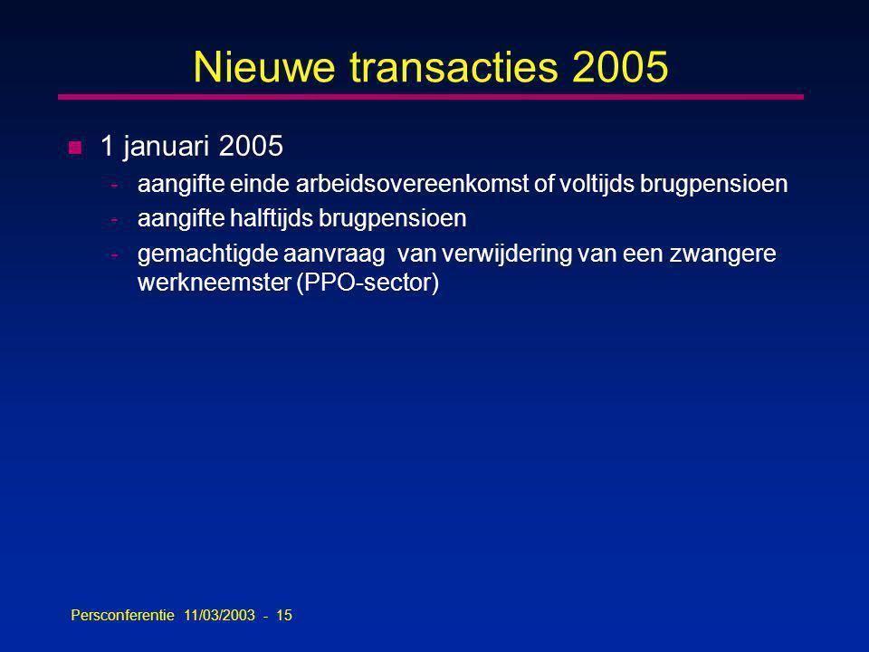 Persconferentie 11/03/2003 - 15 Nieuwe transacties 2005 n 1 januari 2005 -aangifte einde arbeidsovereenkomst of voltijds brugpensioen -aangifte halftijds brugpensioen -gemachtigde aanvraag van verwijdering van een zwangere werkneemster (PPO-sector)