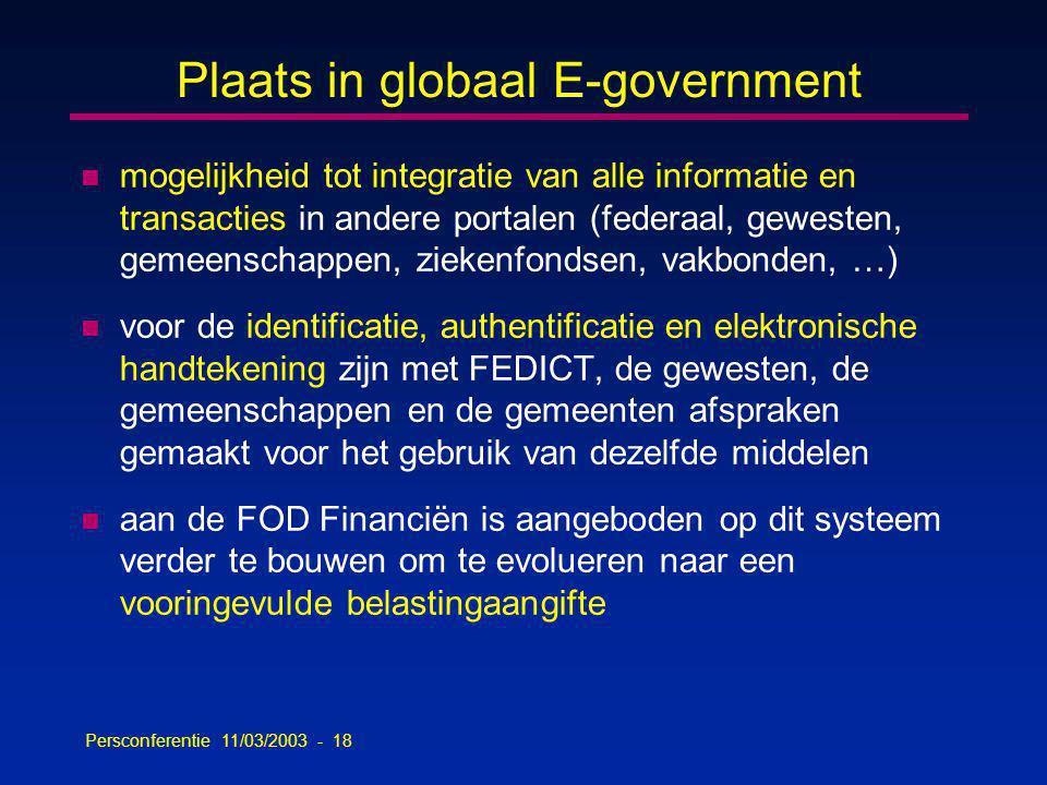 Persconferentie 11/03/2003 - 18 Plaats in globaal E-government n mogelijkheid tot integratie van alle informatie en transacties in andere portalen (federaal, gewesten, gemeenschappen, ziekenfondsen, vakbonden, …) n voor de identificatie, authentificatie en elektronische handtekening zijn met FEDICT, de gewesten, de gemeenschappen en de gemeenten afspraken gemaakt voor het gebruik van dezelfde middelen n aan de FOD Financiën is aangeboden op dit systeem verder te bouwen om te evolueren naar een vooringevulde belastingaangifte