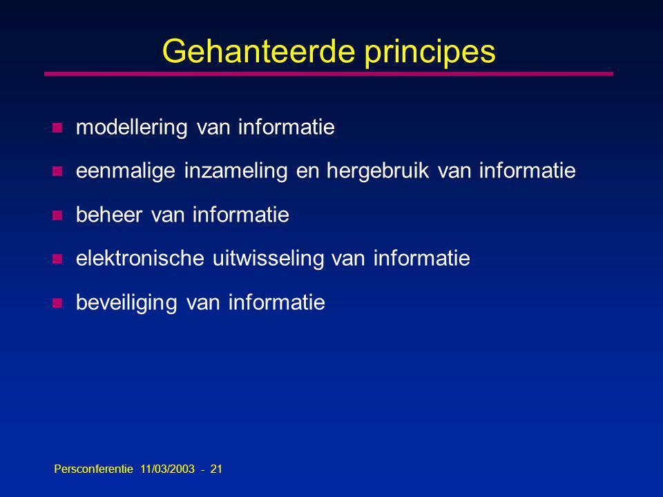Persconferentie 11/03/2003 - 21 Gehanteerde principes n modellering van informatie n eenmalige inzameling en hergebruik van informatie n beheer van informatie n elektronische uitwisseling van informatie n beveiliging van informatie
