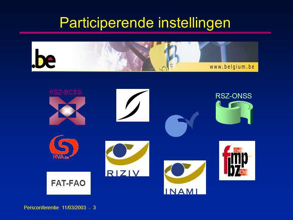 Persconferentie 11/03/2003 - 54 Contactcenter Eranova n Doelstelling -gebruikersondersteuning bij alle toepassingen die op de portaalsite www.sociale-zekerheid verschijnen.