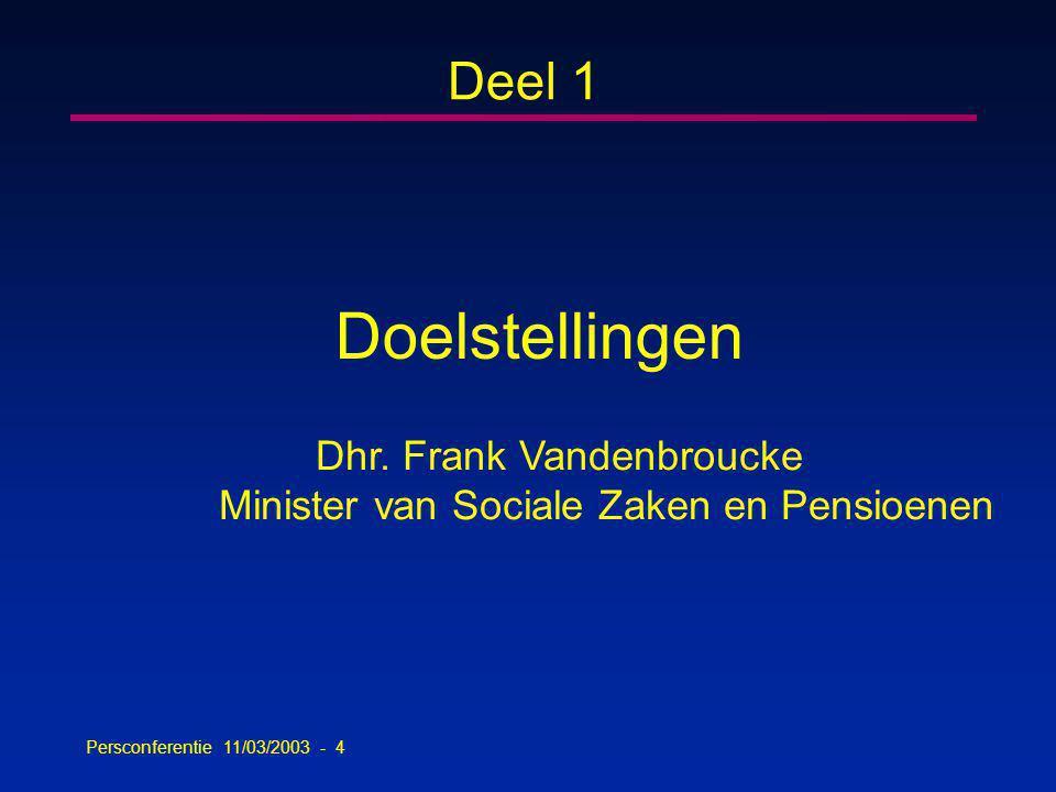 Persconferentie 11/03/2003 - 4 Deel 1 Doelstellingen Dhr.