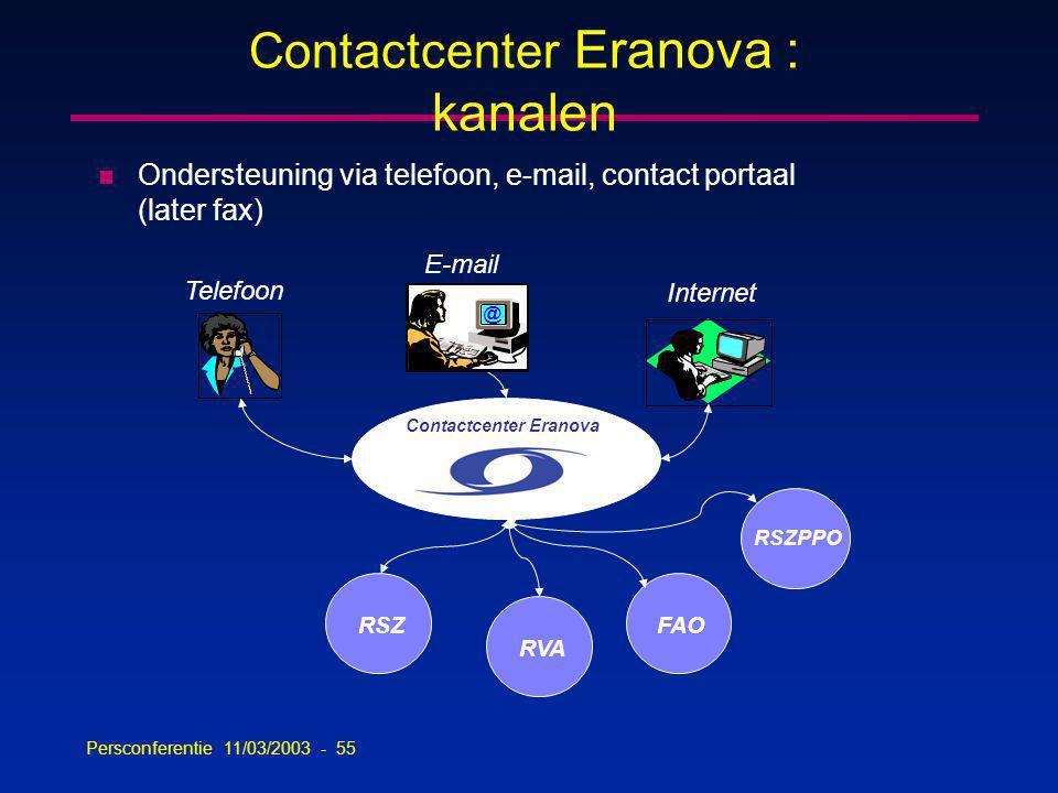 Persconferentie 11/03/2003 - 55 Contactcenter Eranova : kanalen RSZ Telefoon E-mail Internet @ Contactcenter Eranova n Ondersteuning via telefoon, e-mail, contact portaal (later fax) RVA FAO RSZPPO