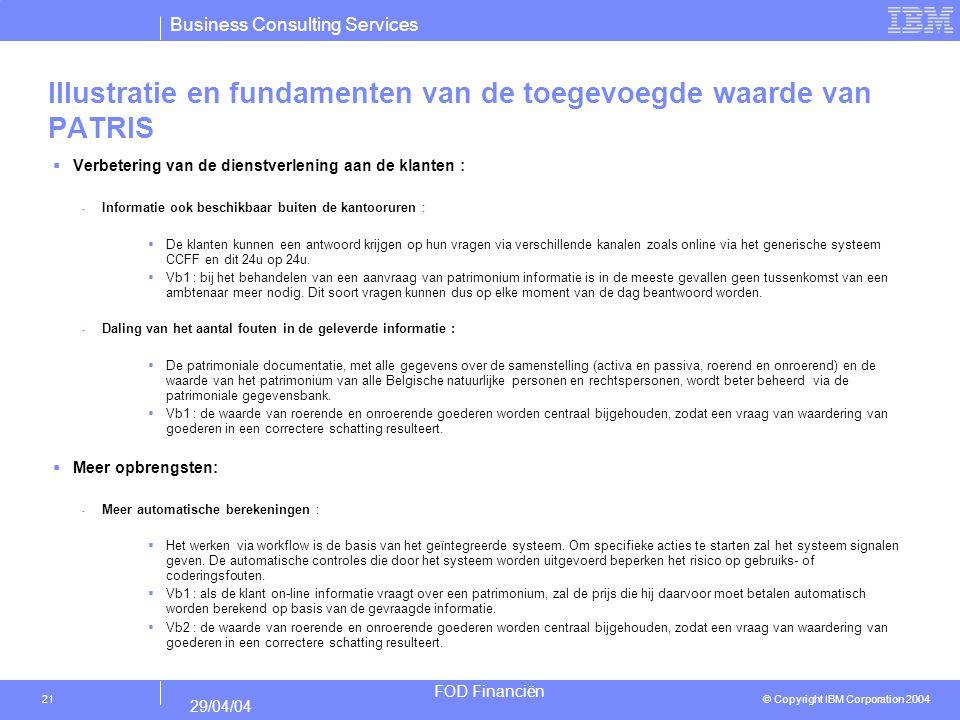 Business Consulting Services © Copyright IBM Corporation 2004 FOD Financiën 29/04/04 21 Illustratie en fundamenten van de toegevoegde waarde van PATRI