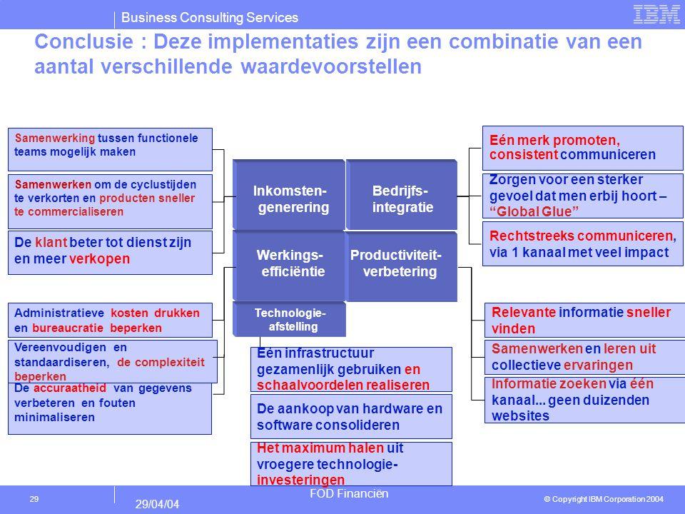 Business Consulting Services © Copyright IBM Corporation 2004 FOD Financiën 29/04/04 29 Conclusie : Deze implementaties zijn een combinatie van een aa