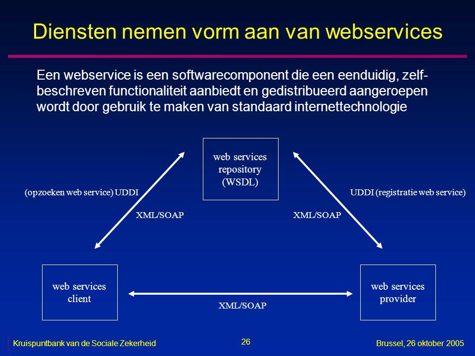 26 Kruispuntbank van de Sociale ZekerheidBrussel, 26 oktober 2005 Diensten nemen vorm aan van webservices Een webservice is een softwarecomponent die een eenduidig, zelf- beschreven functionaliteit aanbiedt en gedistribueerd aangeroepen wordt door gebruik te maken van standaard internettechnologie web services repository (WSDL) web services client web services provider UDDI (registratie web service)(opzoeken web service) UDDI XML/SOAP