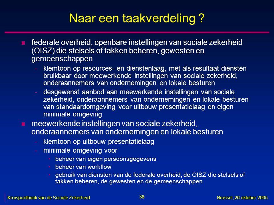 38 Kruispuntbank van de Sociale ZekerheidBrussel, 26 oktober 2005 Naar een taakverdeling .