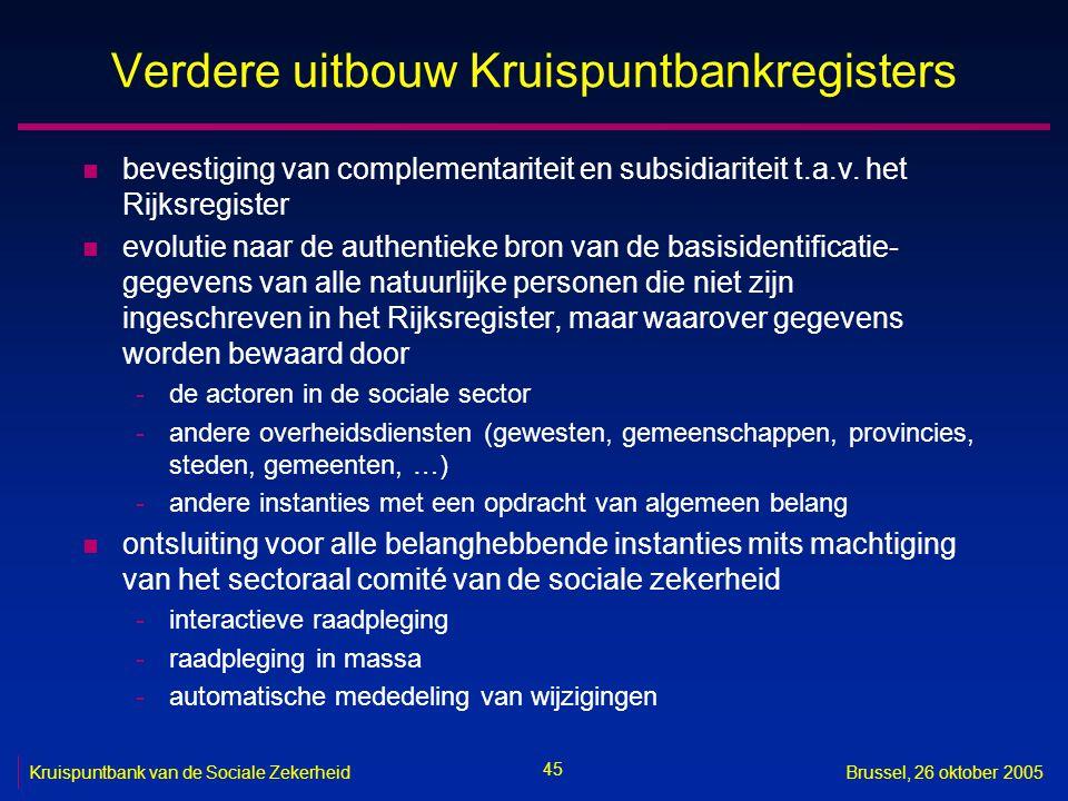 45 Kruispuntbank van de Sociale ZekerheidBrussel, 26 oktober 2005 Verdere uitbouw Kruispuntbankregisters n bevestiging van complementariteit en subsidiariteit t.a.v.