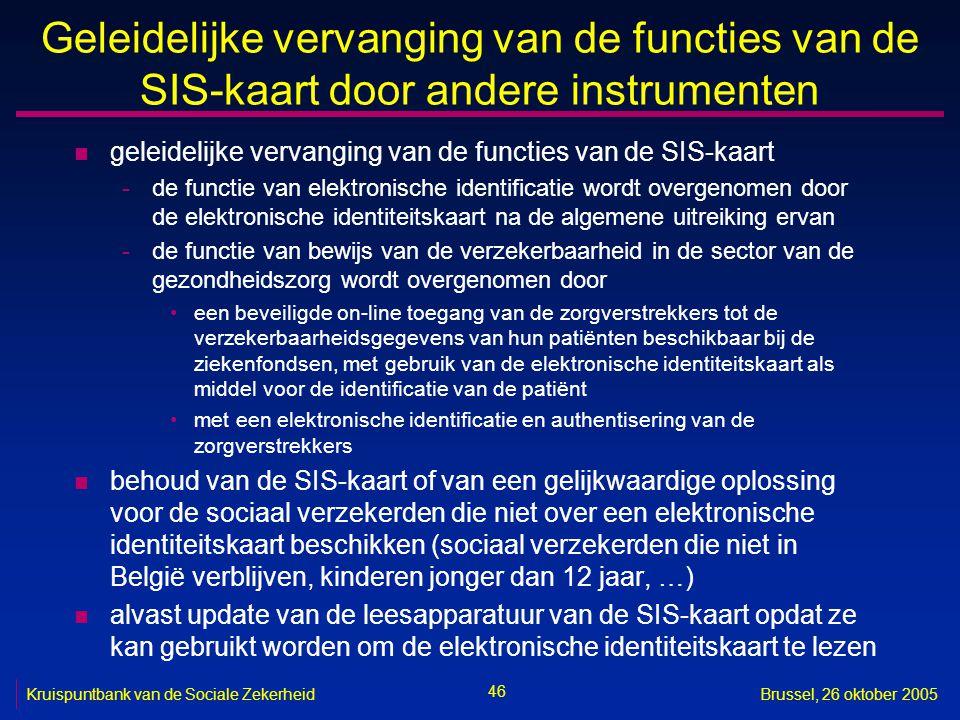 46 Kruispuntbank van de Sociale ZekerheidBrussel, 26 oktober 2005 Geleidelijke vervanging van de functies van de SIS-kaart door andere instrumenten n geleidelijke vervanging van de functies van de SIS-kaart -de functie van elektronische identificatie wordt overgenomen door de elektronische identiteitskaart na de algemene uitreiking ervan -de functie van bewijs van de verzekerbaarheid in de sector van de gezondheidszorg wordt overgenomen door een beveiligde on-line toegang van de zorgverstrekkers tot de verzekerbaarheidsgegevens van hun patiënten beschikbaar bij de ziekenfondsen, met gebruik van de elektronische identiteitskaart als middel voor de identificatie van de patiënt met een elektronische identificatie en authentisering van de zorgverstrekkers n behoud van de SIS-kaart of van een gelijkwaardige oplossing voor de sociaal verzekerden die niet over een elektronische identiteitskaart beschikken (sociaal verzekerden die niet in België verblijven, kinderen jonger dan 12 jaar, …) n alvast update van de leesapparatuur van de SIS-kaart opdat ze kan gebruikt worden om de elektronische identiteitskaart te lezen