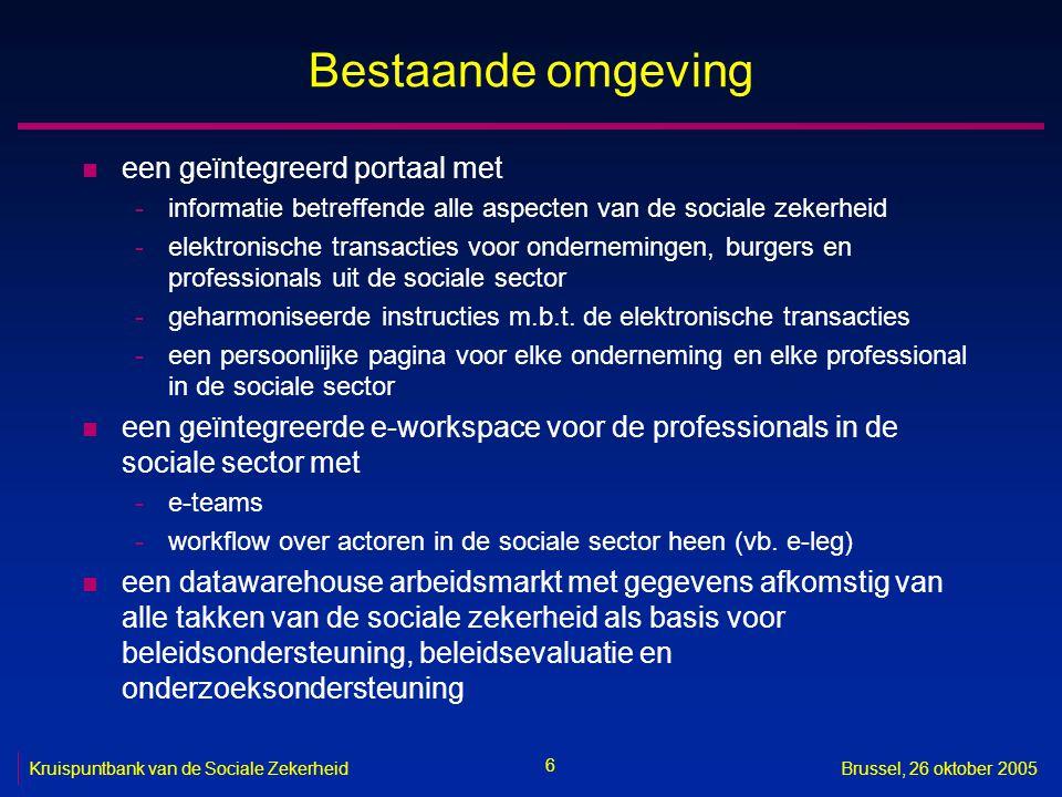 57 Kruispuntbank van de Sociale ZekerheidBrussel, 26 oktober 2005 Meer informatie .