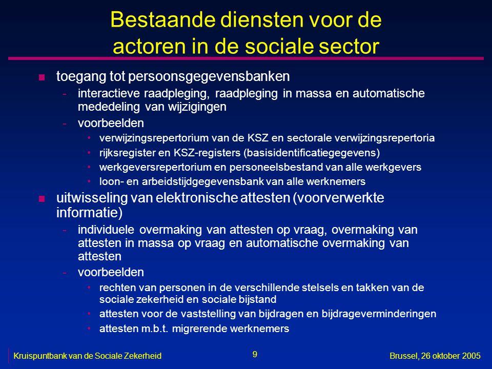 30 Kruispuntbank van de Sociale ZekerheidBrussel, 26 oktober 2005 Open specificaties en open standaarden n voorbeelden -karaktersets -interconnectie -uitwisseling van berichten -uitwisseling van documenten -opslag van berichten -opslag van documenten -compressie van documenten -beveiliging -beschrijving van diensten -samenwerking tussen diensten -orchestratie van diensten n zie bijvoorbeeld http://www.ksz.fgov.be/documentation/nl/documentation/ Pers/OpenstandaardenNL_FEDICT.pdf http://www.ksz.fgov.be/documentation/nl/documentation/ Pers/OpenstandaardenNL_FEDICT.pdf