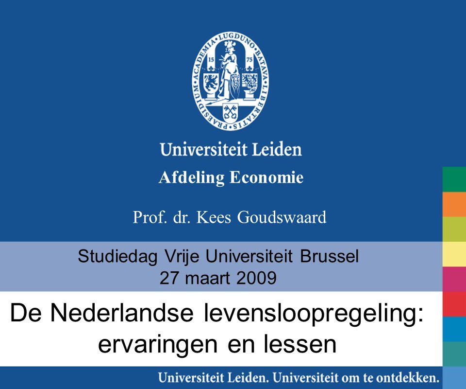 Studiedag Vrije Universiteit Brussel 27 maart 2009 Prof. dr. Kees Goudswaard De Nederlandse levensloopregeling: ervaringen en lessen Afdeling Economie