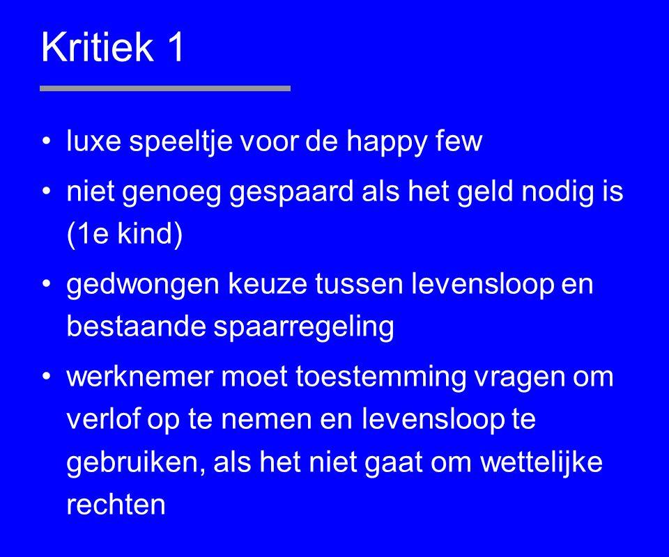 Kritiek 1 luxe speeltje voor de happy few niet genoeg gespaard als het geld nodig is (1e kind) gedwongen keuze tussen levensloop en bestaande spaarreg
