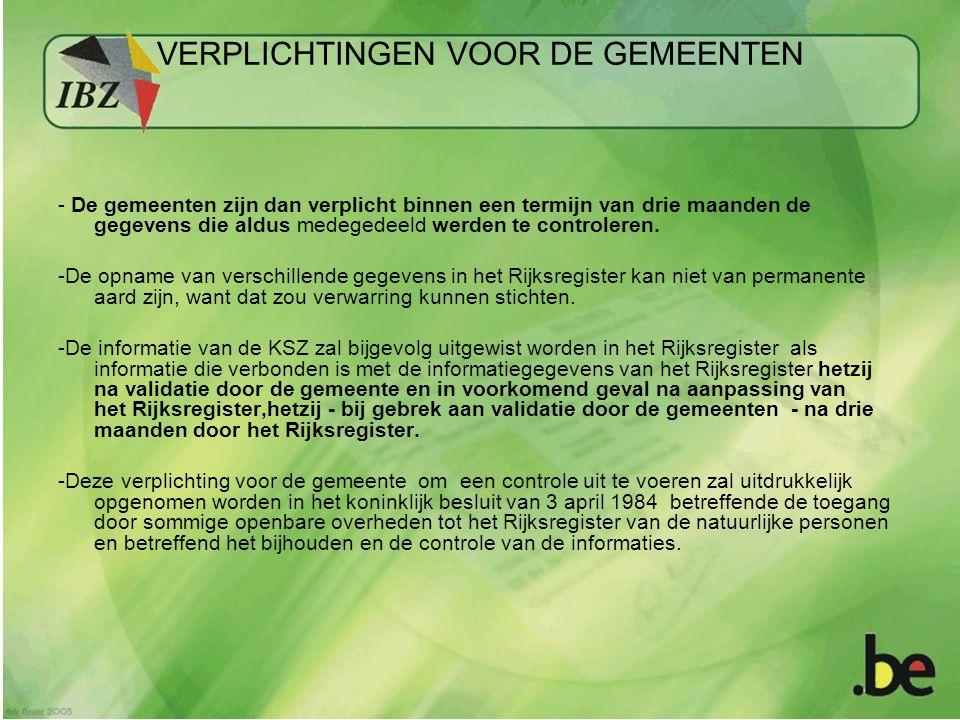COMM-GEM 97 15 40-46… Code 1 OK Code 2 NOK 90 days later RRN : 97 13 40-46 BCSS-KSZ