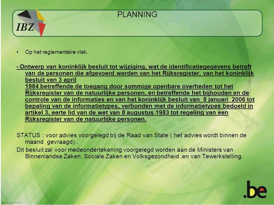 PLANNING Op het reglementaire vlak.