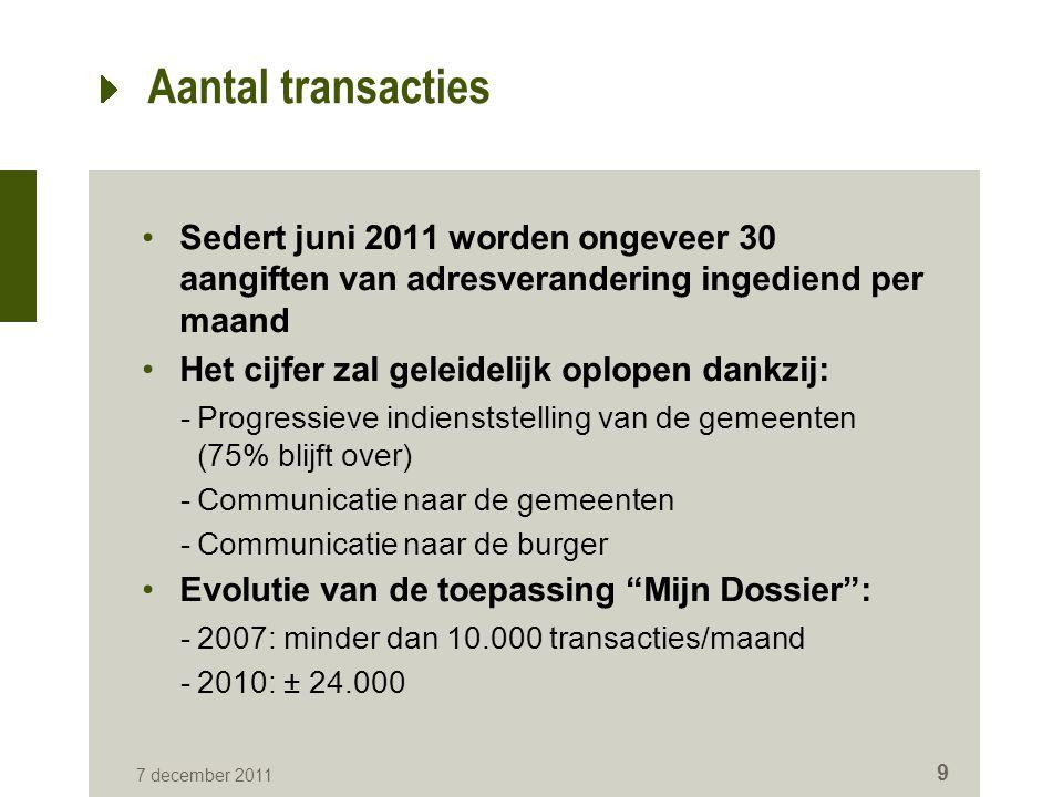 7 december 2011 9 Aantal transacties Sedert juni 2011 worden ongeveer 30 aangiften van adresverandering ingediend per maand Het cijfer zal geleidelijk