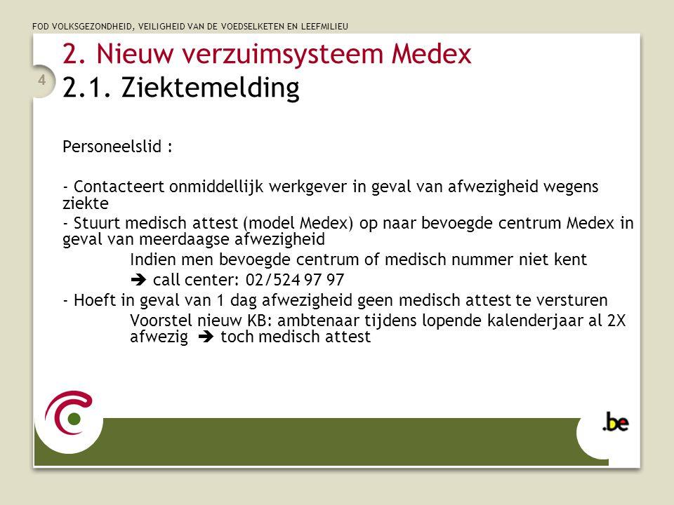 FOD VOLKSGEZONDHEID, VEILIGHEID VAN DE VOEDSELKETEN EN LEEFMILIEU 4 2. Nieuw verzuimsysteem Medex 2.1. Ziektemelding Personeelslid : - Contacteert onm