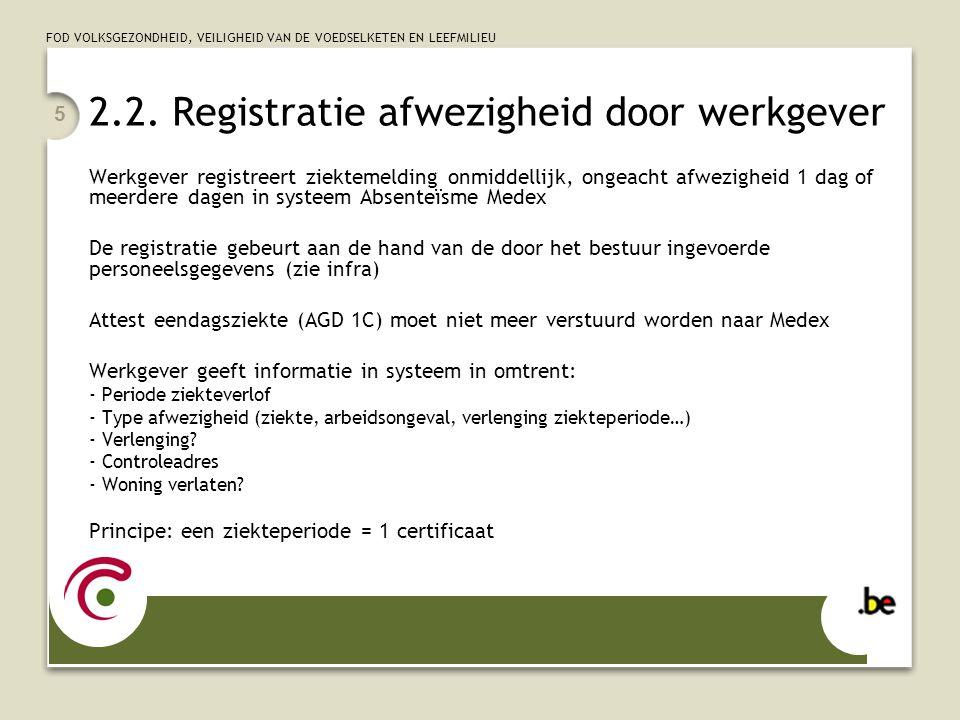 FOD VOLKSGEZONDHEID, VEILIGHEID VAN DE VOEDSELKETEN EN LEEFMILIEU 5 2.2. Registratie afwezigheid door werkgever Werkgever registreert ziektemelding on