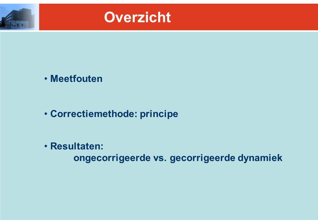 Overzicht Meetfouten Correctiemethode: principe Resultaten: ongecorrigeerde vs.