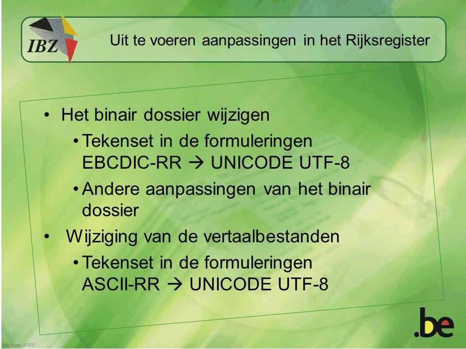 Uit te voeren aanpassingen in het Rijksregister Het binair dossier wijzigen Tekenset in de formuleringen EBCDIC-RR  UNICODE UTF-8 Andere aanpassingen van het binair dossier Wijziging van de vertaalbestanden Tekenset in de formuleringen ASCII-RR  UNICODE UTF-8