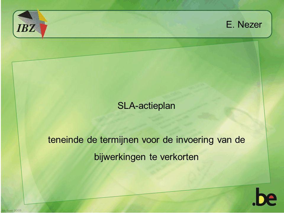 E. Nezer SLA-actieplan teneinde de termijnen voor de invoering van de bijwerkingen te verkorten